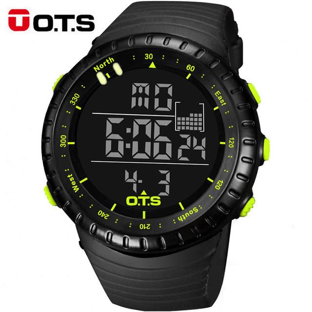 OTS Relógios Digitais homens esportes 50 M À Prova D' Água Profissional horas militares Luminosos relógios de pulso de Quartzo grande mostrador 2017 moda