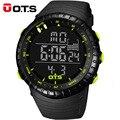 OTS Relojes Digitales hombres deportes 50 M Profesional A Prueba de agua horas de Cuarzo dial grande Luminosa militar relojes de pulsera 2017 de la moda