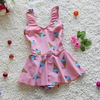 Kore Taze Tasarım Çocuklar Mayo Kaliteli Kızlar Mayo Gençler Tek Parça Pembe dondurma Banyo Suit Bebek Çocuk Beachwear