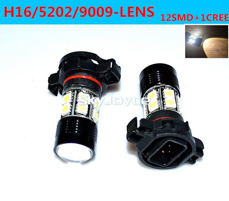 ФОТО Freeshipping 2X white H16 led fog lamp bulb 5202 9009 LED auto DRL DC12V 12SMD+1CREE LED car FOG LIGHT driving projector lens
