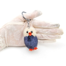 цена на Lovely Chicks Keychain Duck Cute Fluffy Key chain  Genuine Mink Fur Pompom Key Ring Pom Pom Toy Doll Bag Charm Car Key Holder