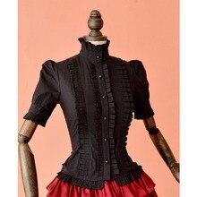 Summer women white short Tops Vintage Victorian Ruffled Bandage shirts Ladies gothic blouse lolita costume