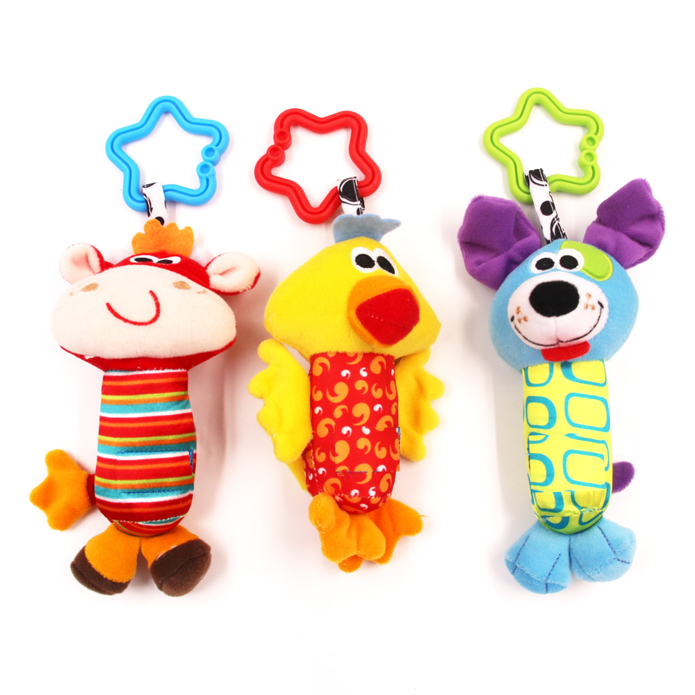 MOONBIFFY Cute Baby Kids Rattle Toys Tinkle Hand Bell Multifunctional Plush Stroller Hanging Rattles Kawaii Baby Infant Toy