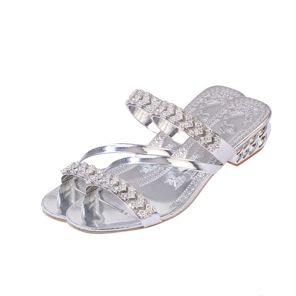 Women Shoes Summer Slides Party Square Chunky Med Heels Shoes Women Rhinestone Slippers Slippers Plus Size 35-41Women Shoes Summer Slides Party Square Chunky Med Heels Shoes Women Rhinestone Slippers Slippers Plus Size 35-41