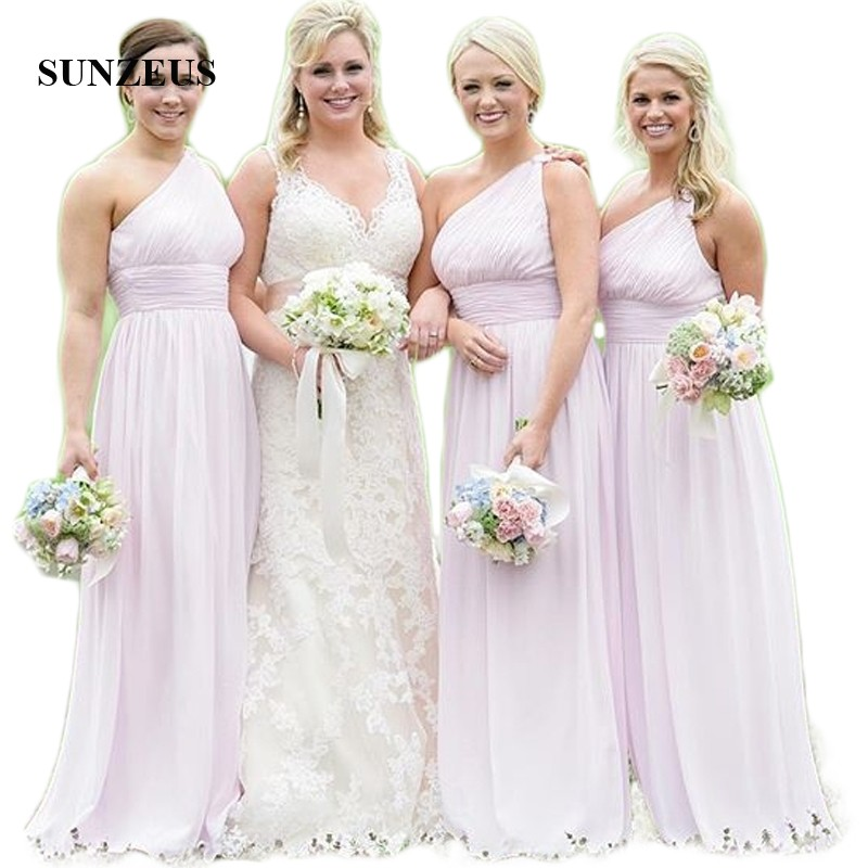 One Shoulder Pink Chiffon   Bridesmaid     Dresses   Pleats A-Line Wedding Guest   Dresses   Simple Long vestido longo rosa SBD101