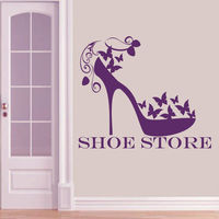 Wall Decals Shoe Store Shop Women's Fashion Shoes Vinyl Sticker Home Decor