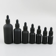 12 x 100ml 50ml 30ml 20ml 15ml 10ml 5ml Matt black glass essential oil dropper bottle essential drop vials Cosmetic Containers цена