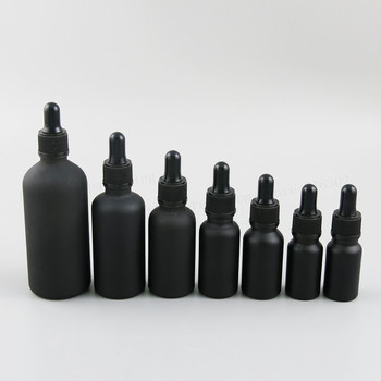 12 x 100ml 50ml 30ml 20ml 15ml 10ml 5ml Matt black glass essential oil dropper bottle essential drop vials Cosmetic Containers 5ml10ml15ml20ml30ml50ml100ml empty cosmetic dropper bottle blue essential oil containers glass pipettes essence package