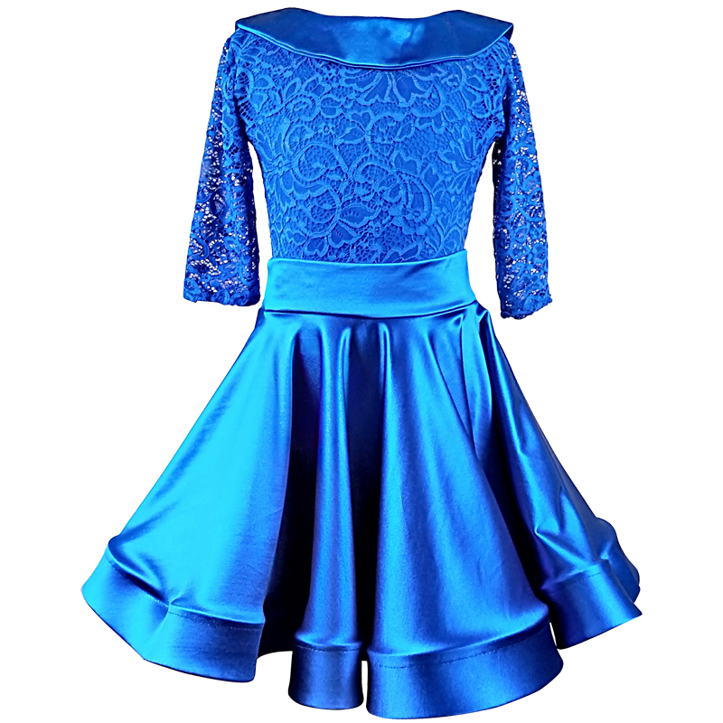 Elegant Latin Dress Blue Ballroom Dancing Dresses Kids Lace Tango Cha Cha Samba Competition Dance Wear