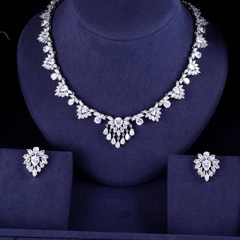 jankelly  Newest Clear CZ Jewelry Sets Brilliant Cubic Zircon Wedding Party Earrings Necklace Jewelry Sets For Heavy Dinner