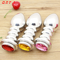 General size 11.1*3.9cm aluminium alloy metal jewel anal plug beads butt sex toys for men and women adult product sex toys