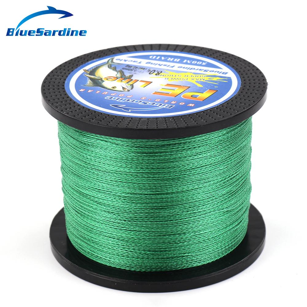 BlueSardine 500M Green Braided Fishing Line Multifilament Fishing Wire PE Braided Line Peche Pesca Tackle 12LB - 90LB