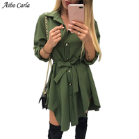Irregular Tie Waist Shirt Dress Women Autumn 2018 Wrap Dress Long Sleeve Turn Down Collar Army