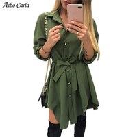 Irregular Tie Waist Shirt Dress Women Autumn 2018 Wrap Dress Long Sleeve Turn Down Collar Army