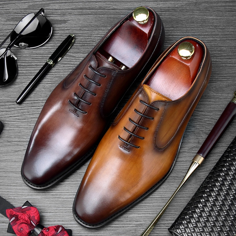 New Arrival Man Wedding Dress Shoes Vintage Genuine Leather Male Oxfords Pointed Toe Formal Brand Men's Party Flats SS391 new arrival british man wedding dress shoes fashion genuine leather male oxfords round toe formal luxury brand men s flats rf40