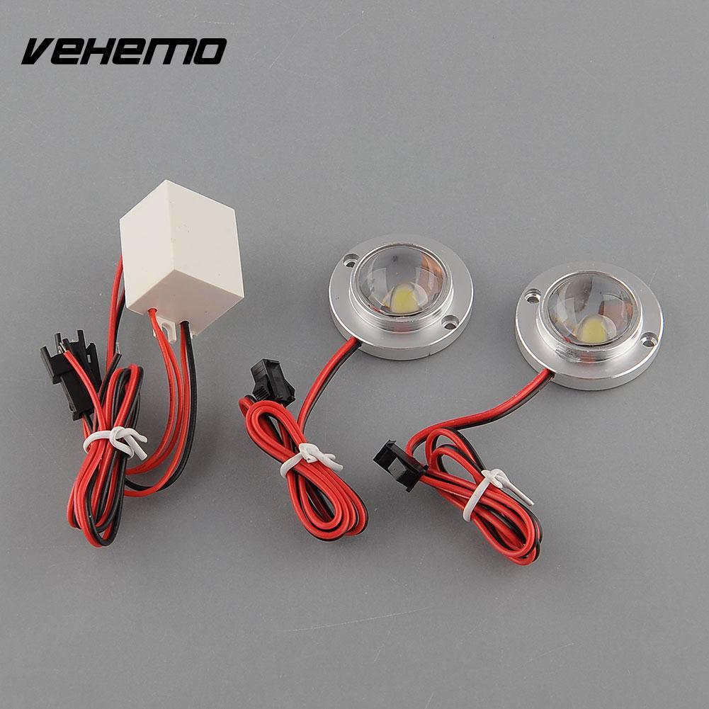 Vehemo Car 2 LED Strobe Emergency Driving White Effective Saving Light Controller