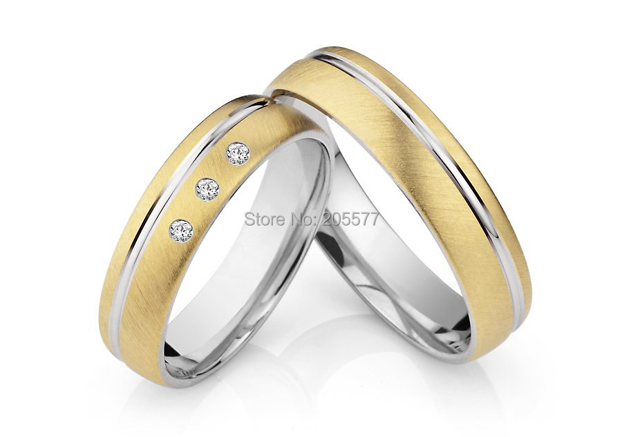 Top Quality surgical titanium crown wedding bands engagement couples rings sets with gold plating for men and women 2014 latest yellow gold plating bicolor titanium engagement wedding rings designs for men and women anillos gold plating