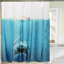 Mildewproof 180x180cm Shark Head Pattern Shower Curtain Sheer Bathroom  Waterproof Panel Decor With 12 Hook