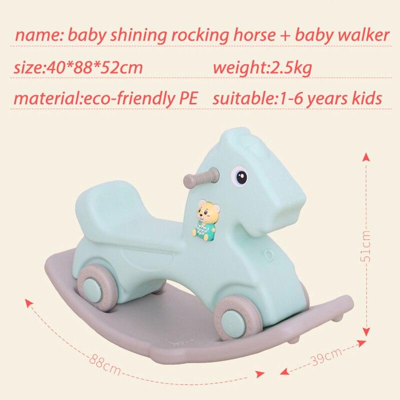 Bébé cheval brillant jouet bébé cheval à bascule en plastique L 1-6 ans équitation voiture enfants cheval à bascule jouet bébé chambre jouets éducatifs - 3