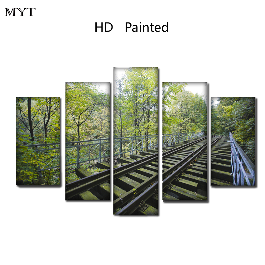 High quality Free shipping HD Printed on Canvas Railway landscape Painting Wall Art Picture For sitting room Home Deco