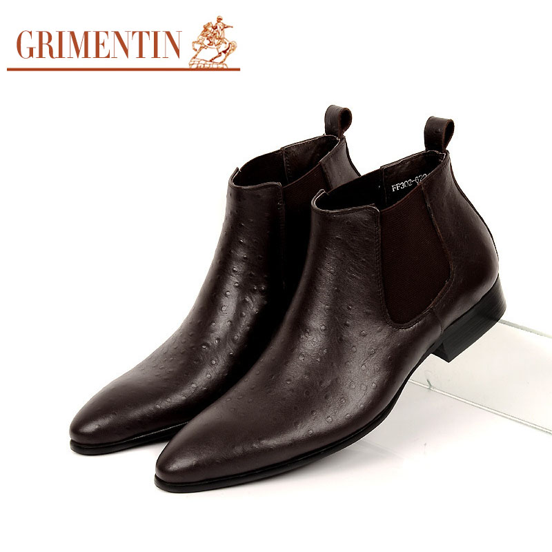 Grimentin Luxury Men Ankle Boots Genuine Leather Brown