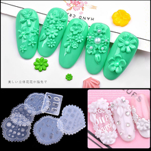 цены 1 pcs 3D Silicone Mold Nail Stamping Nails Carving Stamping Mold Nail Art Template DIY Polish Soft Silicon Gel Durable Decor