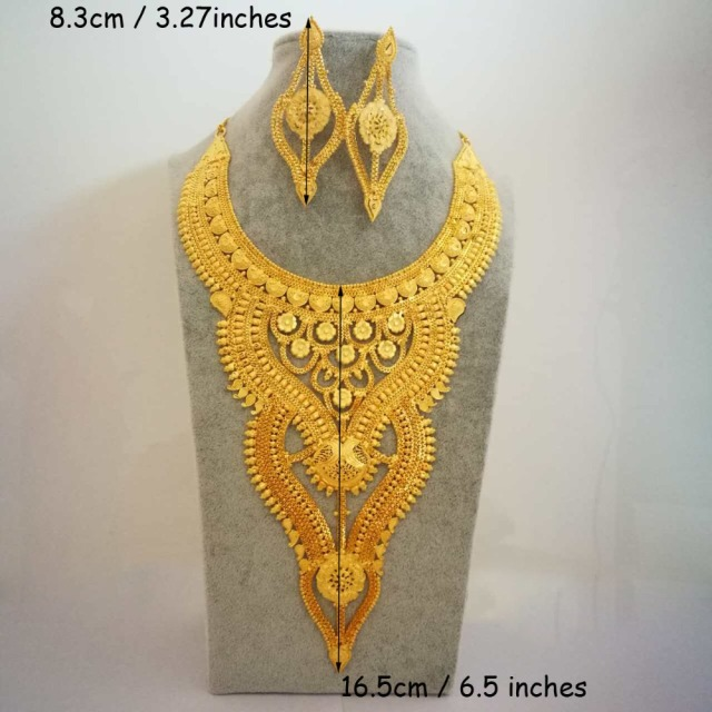 Anniyo Gorgeous Jewelry set Long & Big Necklace and Earrings Fashion Gold Color & COPPER Africa/Arab Bride Gifts #007423