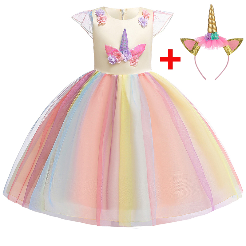 Girls Unicorn Mesh Tutu Dress Kids Princess Rainbow Party Fancy Costume Outfits
