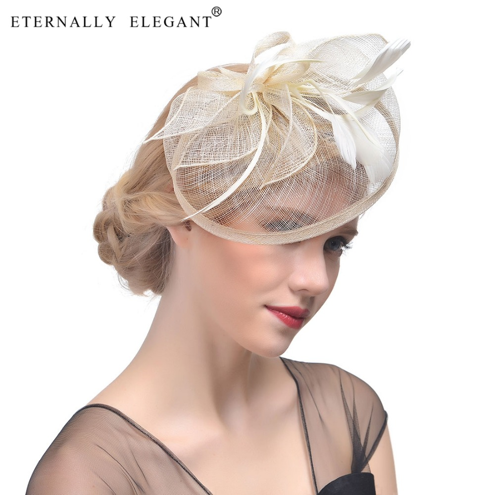 2018 Vintage Feather Wedding Cocktail Hair Bridal Great Gatsby Headpiece For Fascinator Wedding Party EL2406