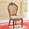 Лучшие Продажи европейской Коричневой ткани сиденья твердого дерева, Обеденный Стул, 2-Pack доставкой по DHL