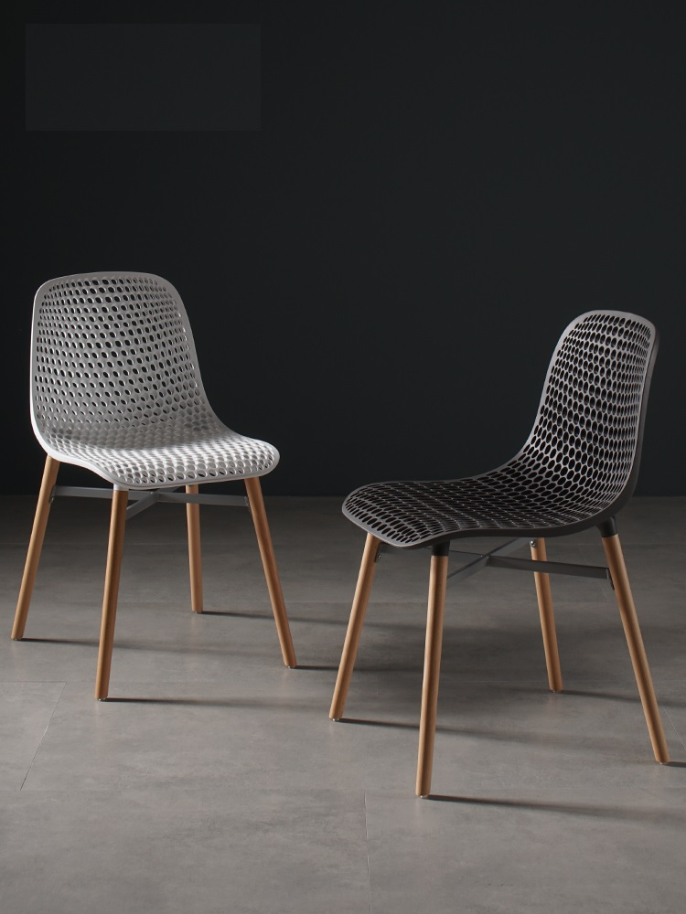 Denmark Design Chair with Plastic Backrest / Wood Legs of Beech with Metal Frame