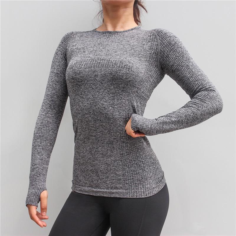 New Women Gym Yoga Shirts Tees Thumb Hole Seamless Long Sleeve Slim Workout Tops Fitness Running Sport T-Shirts Sportswear