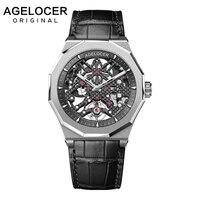 Swiss Mechanical Skeleton Man Watch AGELOCER Men Sport Watches Luminous Power Reserve 80H 50M Diver Wristwatch Relogio Masculino