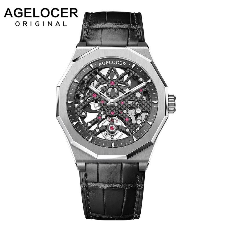 Suisse mécanique squelette homme montre AGELOCER hommes Sport montres lumineux réserve de marche 80 H 50 M Diver montre-bracelet Relogio Masculino