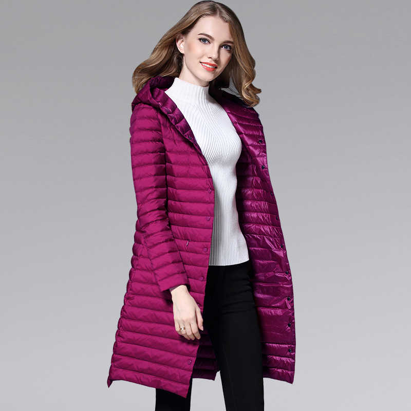 Для женщин зимние Куртка–пуховик на 90% белом утином пуху ультра легкий с капюшоном пальто женский плюс Размеры парка одноцветное Цвет Водонепроницаемый длинное пальто Y600