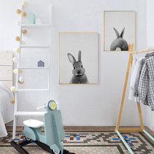 Cute Rabbit Nursery Canvas Painting Black White Animal Poster Print Nordic Wall Art Picture for Kids Bedroom Home Decor Unframed