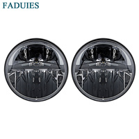 1 Pair 7 Inch Black Round 36W LED Headlights With High Low Beam For Jeep Wrangler