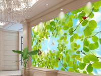Custom 3d ceiling painting branches pigeons ceiling KTV hotel 3d stereoscopic wallpaper murals for ceiling