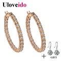 Uloveido Rose Gold Plated Earrings for Women 2016 Fanshion Jewelry Earings Anel Round Crystal Big Boucle D'oreille Brinco BME176