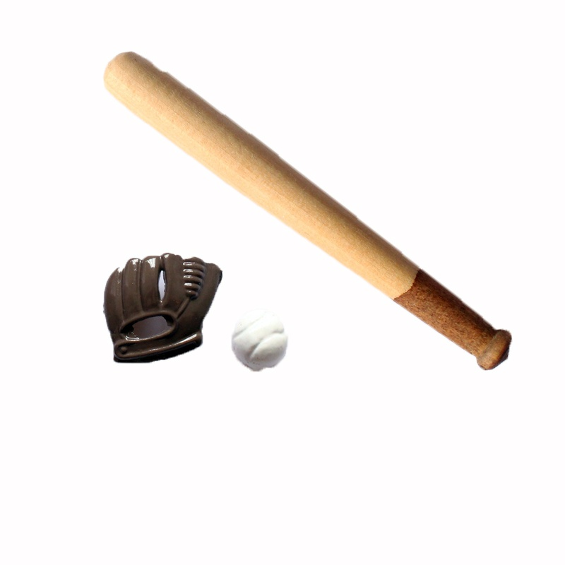 Miniature Dollhouse Baseball Bat And Ball 1:12 Scale New