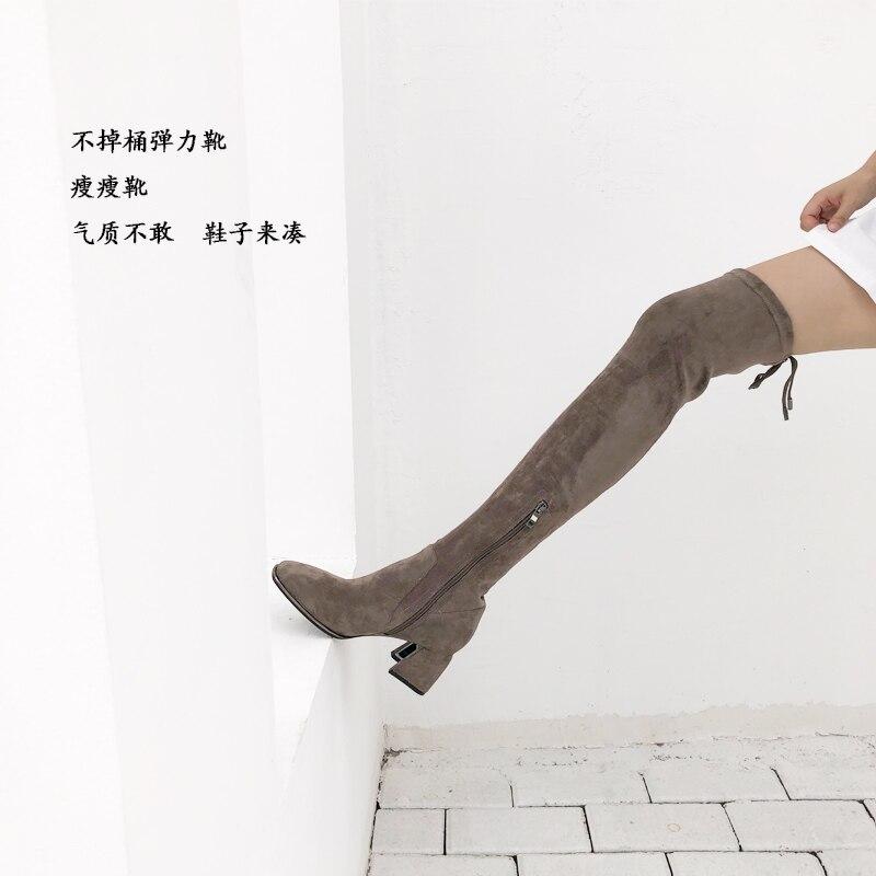 As Cremallera as Estrella Hasta Runway Pic Alto Tacón Lateral La Mujeres Lujo Invierno Mujer Rodilla De Marca Zapatos Sobre Encaje Pic Las Botas Toe xqAITBRRUw