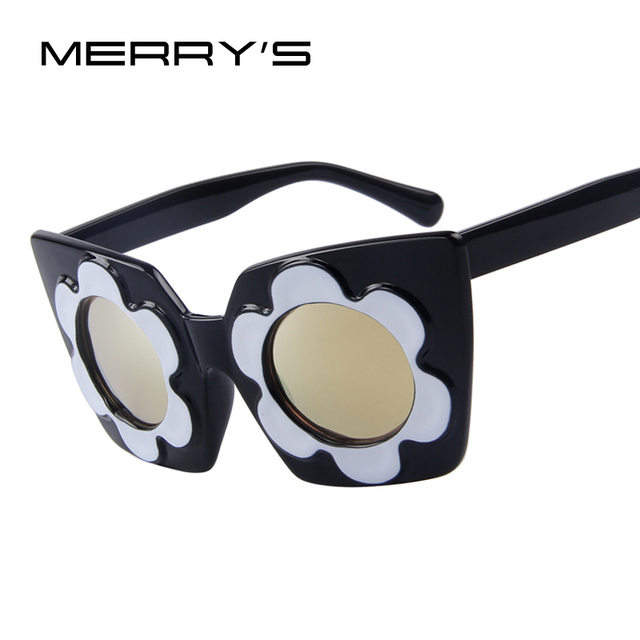 Merry s Для женщин Солнцезащитные очки для женщин круглый цветок Рамки  Летний стиль бренд Защита от солнца 1653b269f2e6b