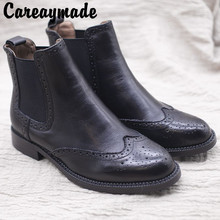 Careaymade-A Handmade Leather Shoe for Renaissance and Comfortable Flat-heeled Leisure Boots,College Martin Boots