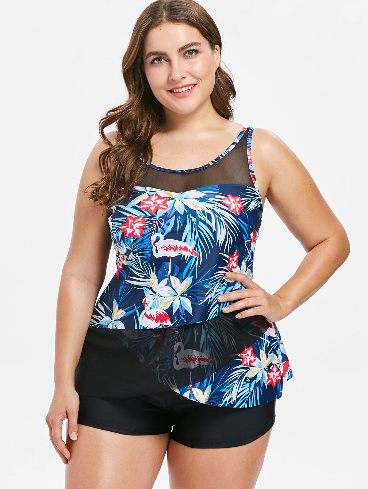 22a1d41603a 2019 Wipalo Plus Size Flamingo Asymmetrical Swimwear Sexy Mesh ...