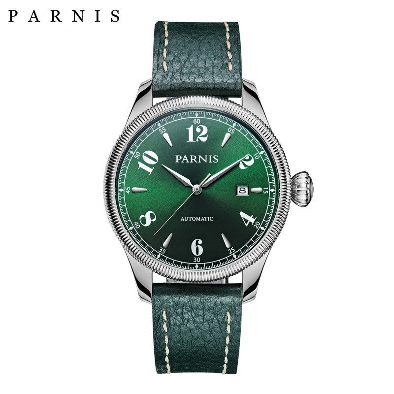 42mm Parnis Fashion Mens Mechanical Watches relojes Leather Royal Style Watch  Date Sapphire Automatic Watch Men Green Black42mm Parnis Fashion Mens Mechanical Watches relojes Leather Royal Style Watch  Date Sapphire Automatic Watch Men Green Black