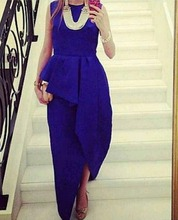 vestidos 2015 royal Blue Peplum Evening dress Asymmetrical A-line Gown de festa