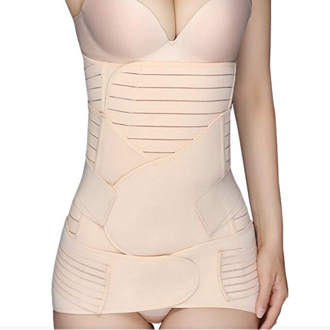 3 Parts Postpartum Belly Pelvis Support Slim Shape Recover Elastic Belts Set L