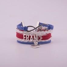 Drop Shipping Unisex Infinity National Flag France Bracelet Heart Charm Leather Bracelet & Bangles for Women Men Jewelry vintage heart crown flag waterdrop bracelet for women