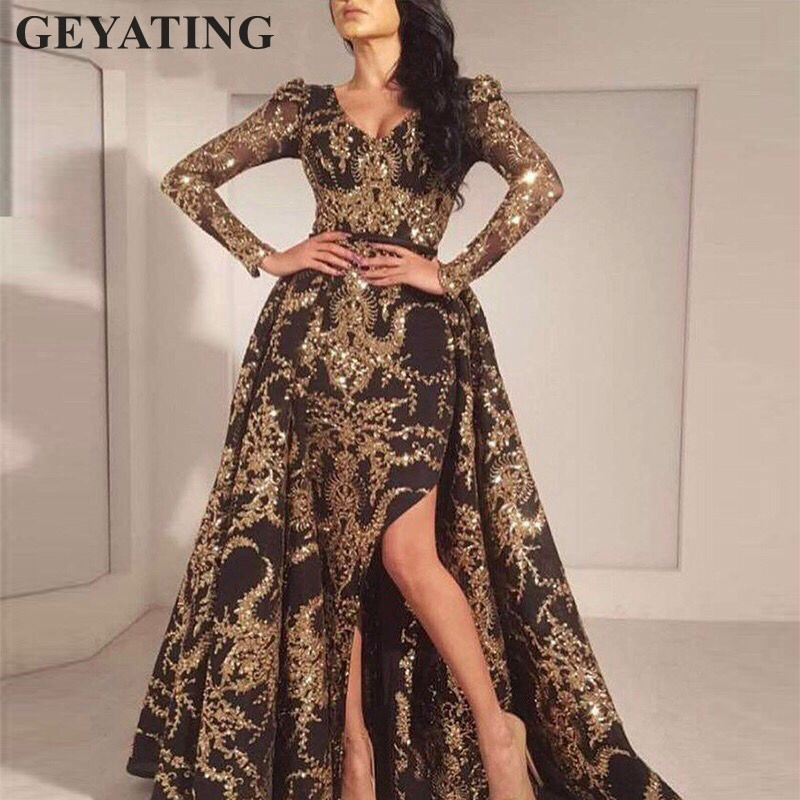 Glitter Gold Sequins Long Sleeves Arabic   Evening     Dress   Detachable Train Black Dubai Kaftan Prom   Dresses   Long Formal Party Gowns