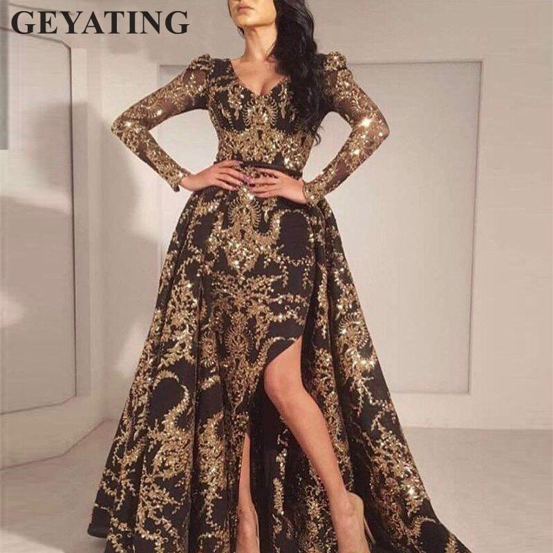 Glitter Gold Sequins Long Sleeves Arabic Evening Dress Detachable Train Black Dubai Kaftan Prom Dresses Long Formal Party Gowns